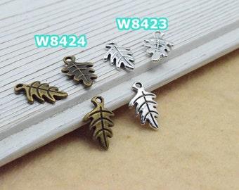 100 leaf charm pendant 9x15mm antique silver (w8423)/ antique bronze (w8424) wholesale zinc alloy charms
