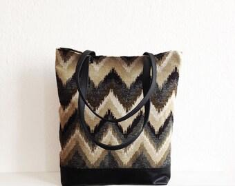 Chevron tote bag, Large tote, Geometric print, Casual tote, Everyday bag, Handbag