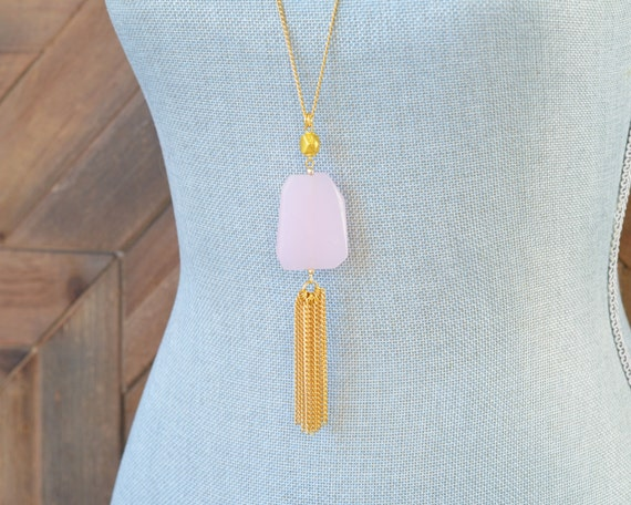 Long Tassel Necklace - Chain Tassel Necklace - Long Fringe Necklace - Stone Tassel Necklace - Rose Quartz Necklace - Long Pink Necklace