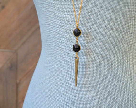 Long Black Bead Necklace - Long Gold Spike Necklace - Long Black and Gold Necklace - Lucite Necklace - Antique Gold Layering Jewelry