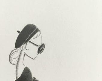 beatnik - art - original pencil drawing - fashion illustration - minimalist - mod - sketch - audrey hepburn