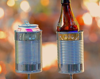 MR & MRS- 2 Hobo Tin Can Beer Holders/ Garden Drink Holders/ Wedding Gift/ Tin Anniversary Gift/ 10 Year Anniversary Present