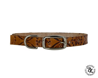 Leather Dog Collar, Embossed Leather Dog Collar, Leather Pet Collar. 3/8 Inch Wide Embossed Leather Dog Collar