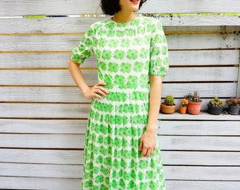 Vintage Dress, 1980s Dress, Vintage Japanese Dress, Women Dress, Summer Dress, 80s Dress, Retro Clothing, Abstract Print Dress, Summer Dress