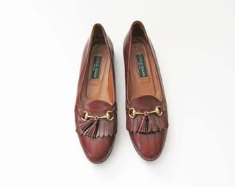 Fringe Leather Loafers / Woman Brown Leather Loafer / Kiltie Fringe / Narrow / Cole Haan Leather Flats 7.5