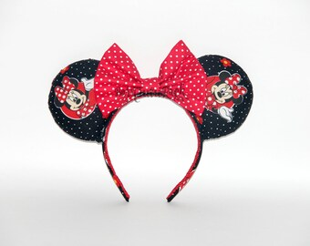 Minnie Pretty Mouse Ears //Black and Red Mouse Ears // by Born Tutu Rock
