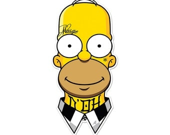 "Homie Simpson Die-Cut Vinyl Sticker by Hatch For Kids D'OH The Simpsons Bart Lisa Marge Maggie Homer Simpson Tattoo Gangster Decal 2.5""x5"""