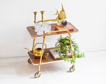 Mid Century Bar cart, wooden tea cart, serving cart, 60s bar cart, faux bois cart