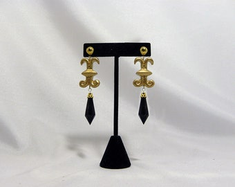 Black Moon Poison Crystal Earrings - Gold or Silver