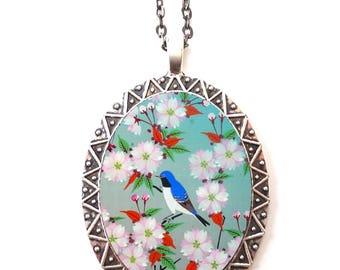 Bluebird Necklace Pendant Silver Tone - Blue Bird Cherry Blossom Sakura Animal Art