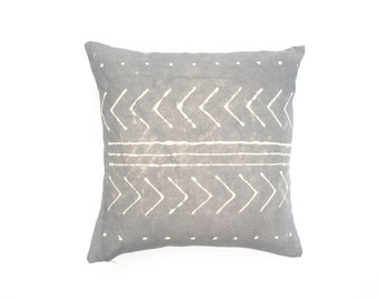 Charcoal Gray Pillow Cover with Tribal Design Dark Grey Pillow Cover Decorative Throw Pillow 20 x 20 Throw Pillow