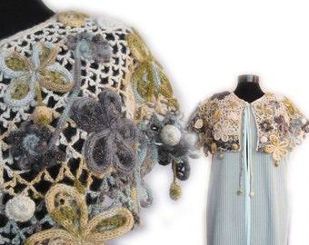 Gradient Flower Cowl, Crochet Capelet - Wedding Shrug, Winter Accessories,  Bohemian Cape Shawl, long vest