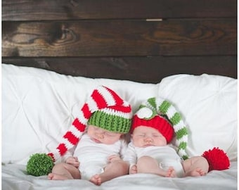 Twin Newborn Crochet Christmas Stocking Hats, Twin Elf Hats, Christmas Hats, Twin Photo Props