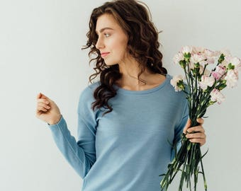 light blue sweater, blue sweater, everyday sweater, womens sweaters, blue sweater, simple sweater, sweater lace, blue sweatshirt