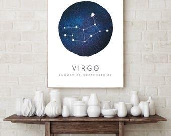 Virgo Zodiac Constellation Wall Art Print, Astrology Decor, Nursery Wall Art, Virgo Constellation, Wall Art for Kids, Horoscope Décor