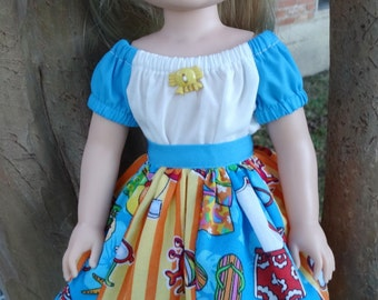 """14.5"""" Doll Clothes Beach Themed Patchwork Skirt Fits American Girl Wellie Wishers Camille"""