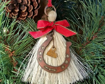 Rustic Primitive Metal Cutout Horseshoe on Horsehair Tassel Christmas Holiday Ornament with Heart
