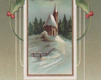 Art Nouveau Christmas Church In The Snow With Holly Original Antique Postcard