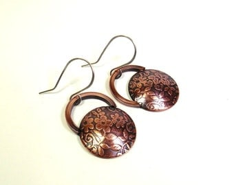 Spring Floral Copper and Sterling Silver Domed Disk Earrings, Kettlebell, Gift for her, Spring Flowers, Copper Jewelry