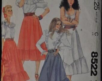 Vintage McCall's Skirt Pattern 8522, TWO sizes, EITHER Size 10 waist 25 OR size 14 waist 28, western skirt peasant skirt ruffled skirt