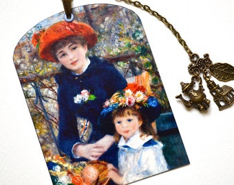 SPECIAL OFFER ! Mini Bookmark with Bronze Charms - Renoir Paintings - Impressionism - Art - Handmade