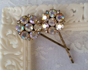 VINTAGE Rhinestone Bridal Bridesmaids Hair Pins Bobby Pins Mother of the Bride Elegant Aurora Borealis One of a Kind Champagne Sparkle