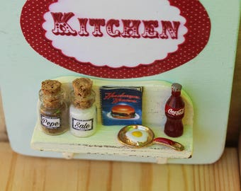 Vintage kitchen handmade door hanger wood sign with clay egg and pan,recipe book, coke, salt and pepper - Wall decor