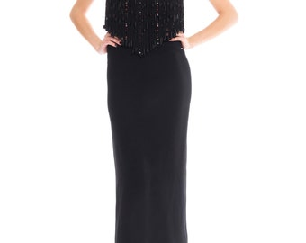 Valentino Crystal Beaded Fringed Gown Size: M