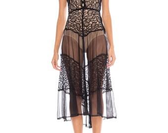 1930s Small Black Lace And Chiffon Silk Dress Size: XS