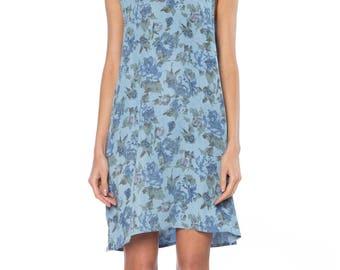 Blue Washed Cotton Floral Print Dress Size: 6-8