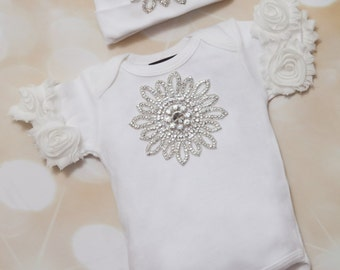 Infant Baby Girl One Piece Layette White Cotton Baby Set with Large Rhinestone Applique