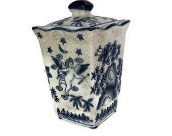 Vintage Blue and White Ironstone Lidded Canister, Biscuit Jar, Urn