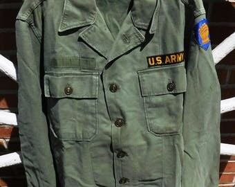 Vintage WWII US Army Olive Drab Fatigue Long Sleeved Shirt - 46th Infantry Ironfist - from DustyMillerAntiques