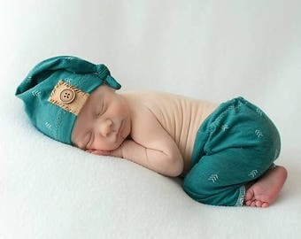 Newborn set Boy pants and knot hat Newborn boy prop, teal and brown, teal pants and hat, boy photo props