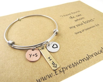 Hand Stamped Jewelry - Wedding Day Gift - Hand Stamped Bracelet Bangle - I do Bracelet - Expressions Bracelets - Anniversary Gift