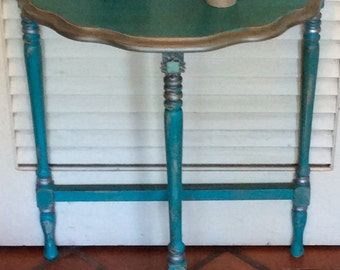 Turquoise Blue Bedside Table/Nightstand  Vintage 1940s