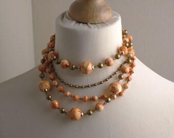 Short 1970s 4 Layer Orange Gold Plastic Bead Graduated Beaded Necklace Kitsch