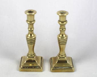 Pair of Small Brass Candle Sticks Plain Ring Design Square Base Metal Miniature Candlesticks