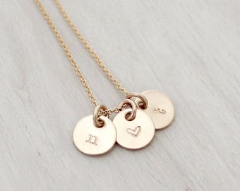 "Dainty Initial Charm Necklace in Gold or Silver - Three 3/8"" Initial Discs - Tiny Gold Initial Necklace - Silver Initial Necklace"