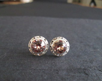 Vintage Rose Swarovski Crystal Earrings/Halo Crystal Studs/Blush Bridesmaid Earrings/Blush Crystal Studs/Pink Swarovski Crystal Earrings