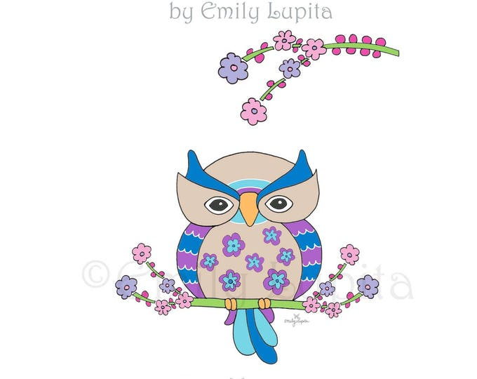 "Illustration Art Print ""Midnight Owl"" / Bird Portrait Wall Art / Nursery New Baby / Baby Shower Gift / Animal Artwork"
