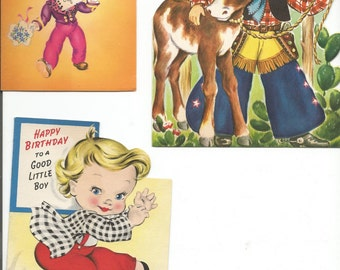 Vintage Group of 3 1950's Children's Birthday Cards