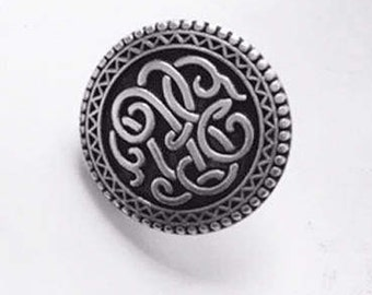 Pewter Metal Buttons, Elan buttons with a scrolling design in pewter colour, pewter buttons, silver buttons, 7/8 inch size