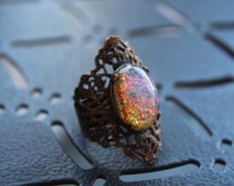 Vintage Kim Craftsmen Filigree Glass Ring // Brass Filigree Ring// 70s Hippie Jewelry // Statement Ring // Schimel Brothers // Boho Ring