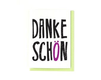 Thank You Card - Thanks - Danke Schön Card - German Card - Deutsch - Danke Card - Greeting Card - Germany - Hand Drawn Lettering