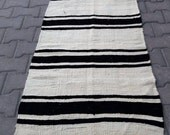 Black and White / 2 by 10 / Turkish Runner Rug / Bi-Colored / Unique / Rustic / Natural / Kilim Runner - 122 in x 27 in