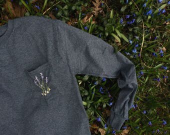 Long Sleeve Embroidered Lavender Bouquet Pocket T Shirt