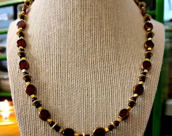 Ruby Glass with Gold Plated Accents Necklace