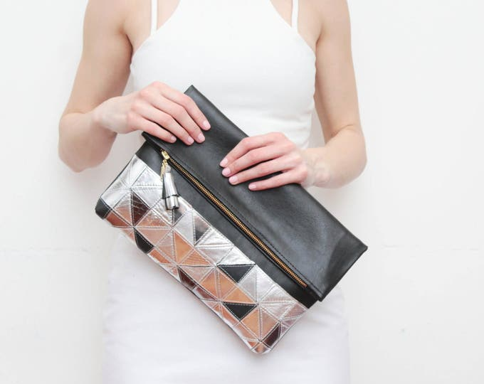 Large leather bag. Fold over clutch. Geometric purse. Statement bag. Oversized purse. Metallic natural leather. Black handbag. /EDGY