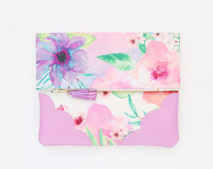 Flower clutch purse-leather bag-fold over purse-scalloped leather-floral print-tassel pull bag-pink watercolor-Ready to Ship/ BLOOM 11